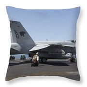 An Fa-18c Hornet During Flight Throw Pillow