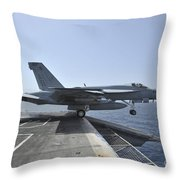 An Fa-18e Super Hornet Launches Throw Pillow by Stocktrek Images