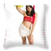 Asian Woman With Santa Hat  Throw Pillow
