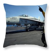 Aviation Boatswains Mate Directs Throw Pillow by Stocktrek Images