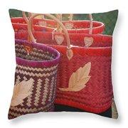 3 Baskets Throw Pillow