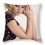 Blond Lady Throw Pillow