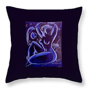 Blue Nude Throw Pillow