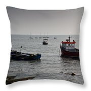 Boats Moored Off Of Leigh Essex Throw Pillow