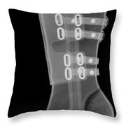 Boot, X-ray Throw Pillow by Ted Kinsman