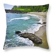 Coast Of Pacific Ocean In Canada Throw Pillow