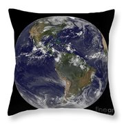 Full Earth Showing North America Throw Pillow by Stocktrek Images