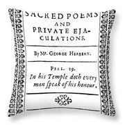 George Herbert (1593-1633) Throw Pillow