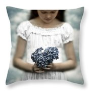 Girl With Hydrangea Throw Pillow