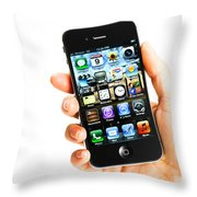 Hand Holding An Iphone Throw Pillow