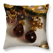 3 Hanging Semi-precious Stones Attached To A Green And Gold Necklace Throw Pillow
