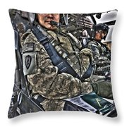 Hdr Image Of A Pilot Sitting Throw Pillow