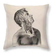 Historical Anatomical Illustration Throw Pillow