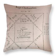 Horoscope Chart For Louis Xiv, 1661 Throw Pillow