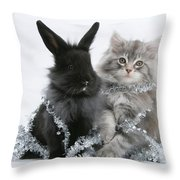 Kitten And Rabbit Getting Into Tinsel Throw Pillow