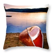 Lake Sunset With Canoe On Beach Throw Pillow