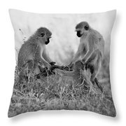 3 Monkeys Hey Its Not A Wig Throw Pillow
