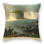 Niagara Falls, 1837 Throw Pillow