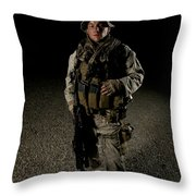 Portrait Of A U.s. Marine Throw Pillow by Terry Moore