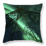 Powerlines And Aurora Borealis Throw Pillow