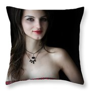 Red And Black Throw Pillow by Eena Bo
