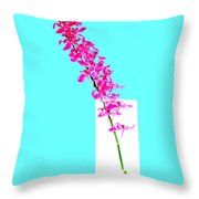 Red Orchid Bunch Throw Pillow