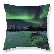 Reflected Aurora Over A Frozen Laksa Throw Pillow