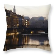 River Liffey, Dublin, Co Dublin, Ireland Throw Pillow