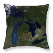 Satellite View Of The Great Lakes Throw Pillow by Stocktrek Images