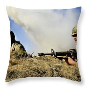 Seabees Defend Their Camp Throw Pillow