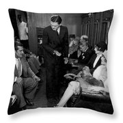 Silent Film Still: Trains Throw Pillow