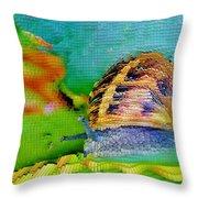 Snail On Aloe Vera Throw Pillow