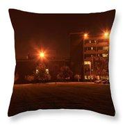 Sodium Vapor Lights On College Campus Throw Pillow