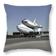 Space Shuttle Endeavour Mounted Throw Pillow