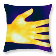 Thermogram Of A Hand Throw Pillow