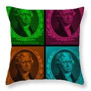 Thomas Jefferson In Quad Colors Throw Pillow