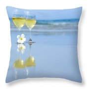 Two Glasses Of White Wine Throw Pillow