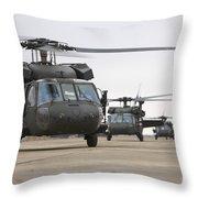 Uh-60 Black Hawks Taxis Throw Pillow