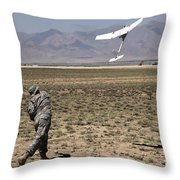 U.s. Army Soldier Launches An Rq-11 Throw Pillow