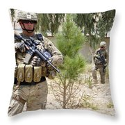 U.s. Army Soldier Stands Guard Throw Pillow