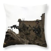 U.s. Army Soldiers Provide Security Throw Pillow