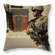 U.s. Army Specialist Provides Security Throw Pillow