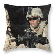 U.s. Marine Provides Security Throw Pillow