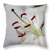 White Lily In Macro Throw Pillow