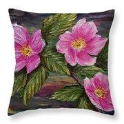 3 Wild Roses Throw Pillow