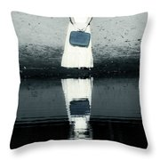 woman with suitcase Throw Pillow by Joana Kruse