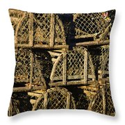 Wooden Lobster Traps Throw Pillow
