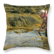 Young Girl Exploring A Maine Tidepool Throw Pillow