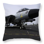 An F-14d Tomcat On The Flight Deck Throw Pillow