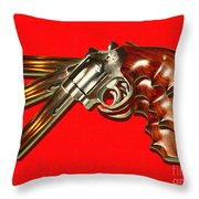 357 Magnum - Painterly - Red Throw Pillow